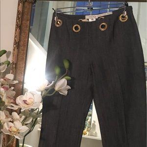 Designer brand CELINE denim pants golden o rings